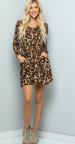 Gina leopard tunic dress
