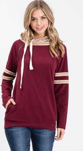 FINAL CALL- Hazley double hooded sweatshirt in dark berry