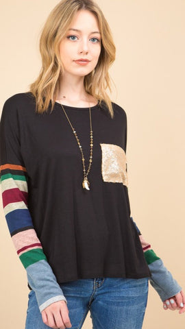 Quinn stripe sleeve top in black