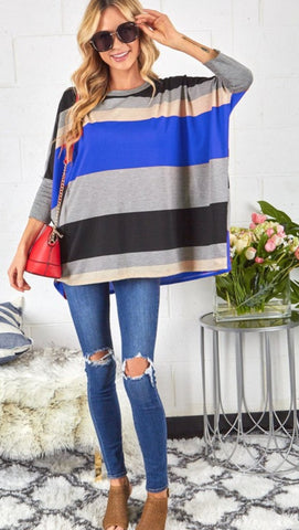 Willow oversized stripe top in blue