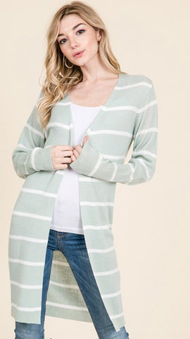 Deidra stripe duster cardigan in mint