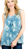 Hazel floral tank in blue