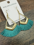 Tassel pendant earrings in aqua