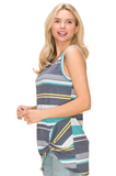 Kenzie stripe twist hem tank in mint