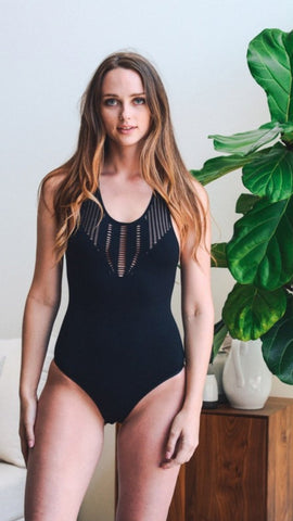 Cutout strappy bodysuit in black