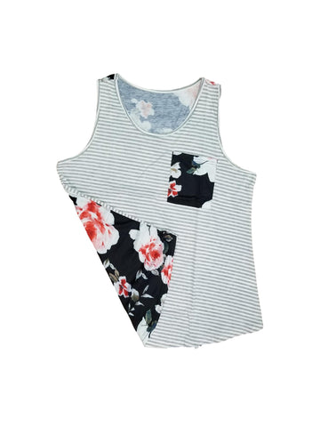 Stop and smell the roses striped tank in grey