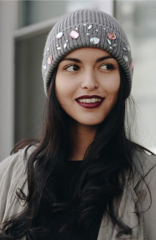 Jeweled knit beanie in gray