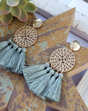 Hammered metal tassel earrings in moss