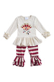 Little turkey top with maroon stripe pants set CXCKTZ-202899