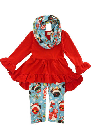 Red disney mouse ruffle tunic scarf pants set SJT-318547