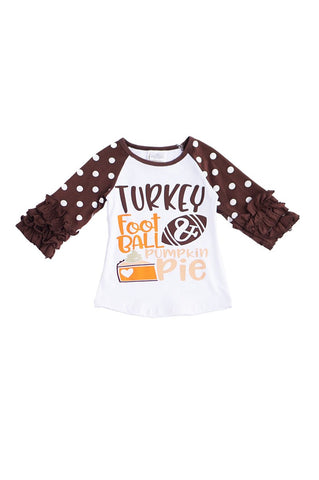 Turkey football pumpkin pie polkadot raglan shirt ZX-319498