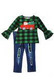 Green plaid ruffle tunic with jeans set CXCKTZ-400885 special sale