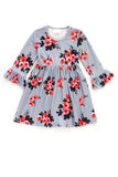Floral Print Ruffle Dress for girls QZ-501064