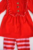 Red pink tunic 2 pcs ruffle set 501165
