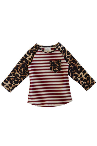 Red stripe leopard raglan shirt CXSY-504007