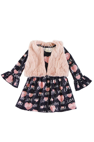 Valentine heart print pink bell dress with fur vest set CXQZ-504060