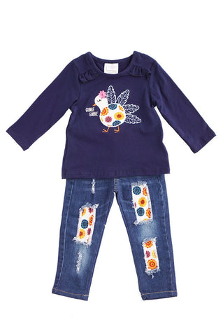 Navy turkey applique jeans set CXCKTZ-580388 sale