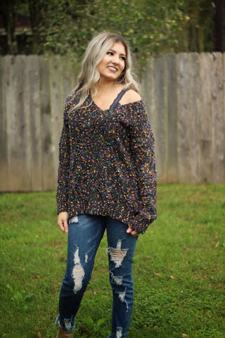 Confetti party V neck sweater in grey