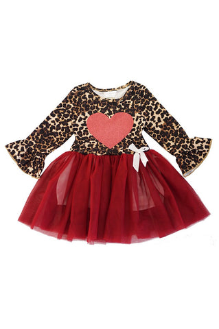 Leopard heart maroon tutu dress CXQ-600138 sale