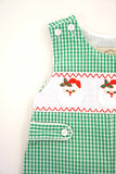 Green gingham smocked santa embroidery jonjon 620036