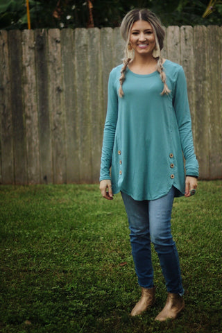 Button me down top in dusty teal