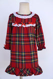 Red/green check lace ruffle girls sleep dress gown 100% cotton 900048