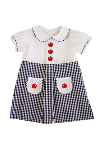 Back to school apple embroidery girls dress 900008-1 sale