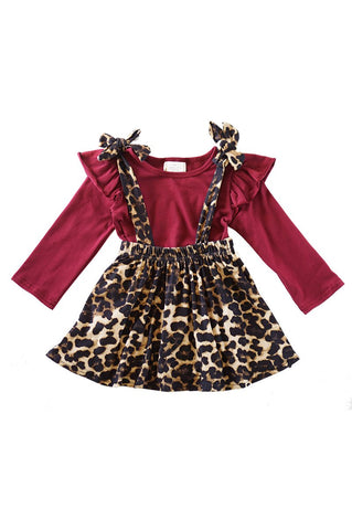 Maroon shirt leopard suspender skirt 2 pcs set CXQTZ-900639