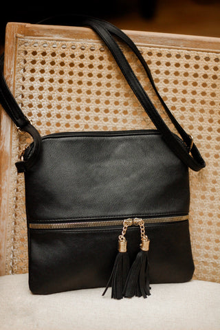 Tassel crossbody purse in black