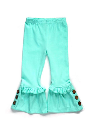 Mint Ruffle Solid Pants with button accent for girls CK-501641
