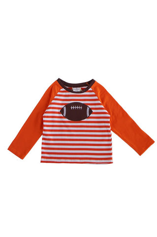 Orange baseball applique stripe raglan top 202885