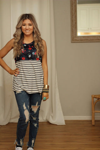 Beautiful darling floral striped tank