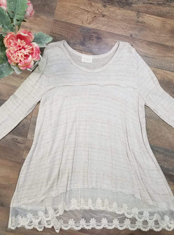 FINAL CALL- Lace hem tunic in oatmeal