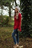 Holly jolly long sleeve top in red