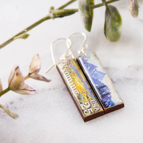 WYOMING- Vintage Postage Stamp Earrings