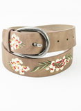 Embroidered belt in khaki