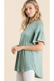Ivy ruffle sleeve top in two tone mint