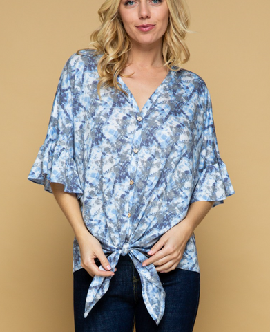 Layna button front top in blue