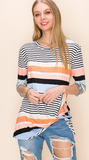 PLUS Jacinda twist hem top in coral stripe