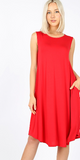 Go with the flow tank dress in ruby