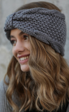 Knit headband ear warmer in grey