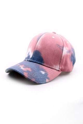 Tie dye baseball cap in muted red