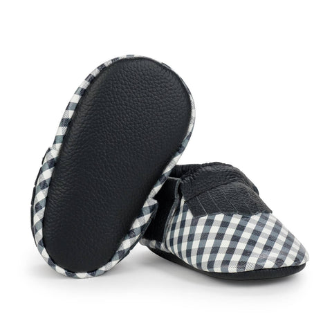 BirdRock Baby - Black and White Gingham Genuine Leather Baby Moccasins