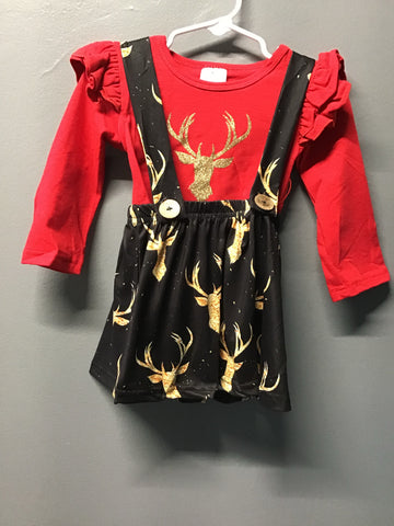 Golden Deer Suspender Dress
