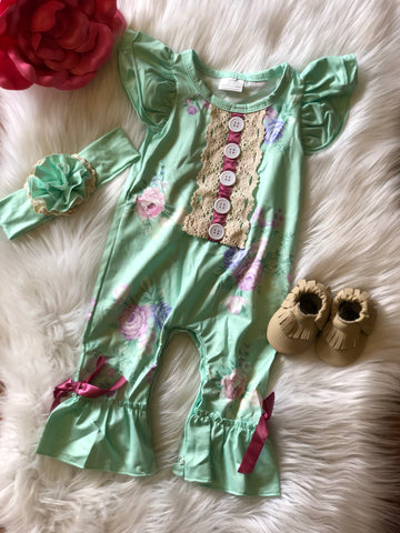 Heirloom Mint Baby Romper