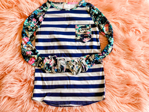 Navy Floral Striped Raglan