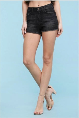 Women's Pl Black Cut Off Shorts