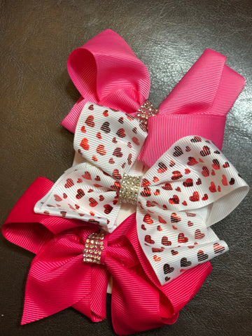 Rhinestone Center Bow Set