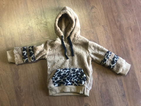 Hooded Tan and Cheetah Sherpa