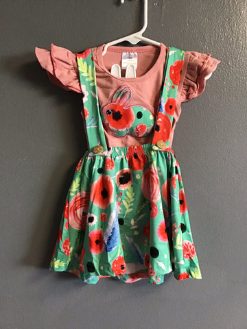Bunny Floral Suspenders Dress